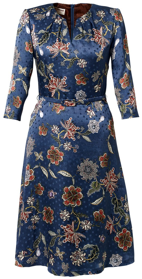 "seidenkleid marlène ""precious garden"" blau"