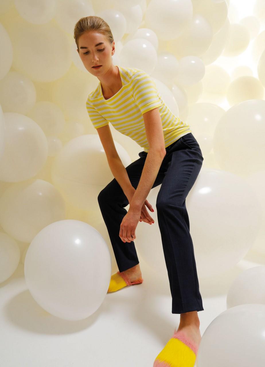 shirt gilda ringel weiß-gelb